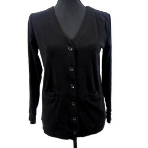 Black Button Down Cardigan with Pockets